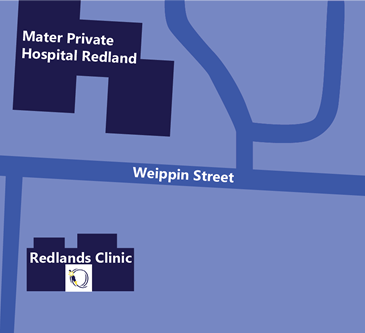 Mater Private Hospital Redlands map aerial view with Queensland Gastroenterology