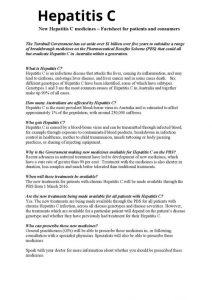 Hepatitis C: New Hepatitis C medicines - Factsheet for patients and consumers